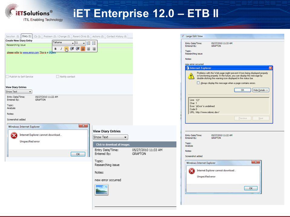 iET Enterprise 12.0 – ETB II