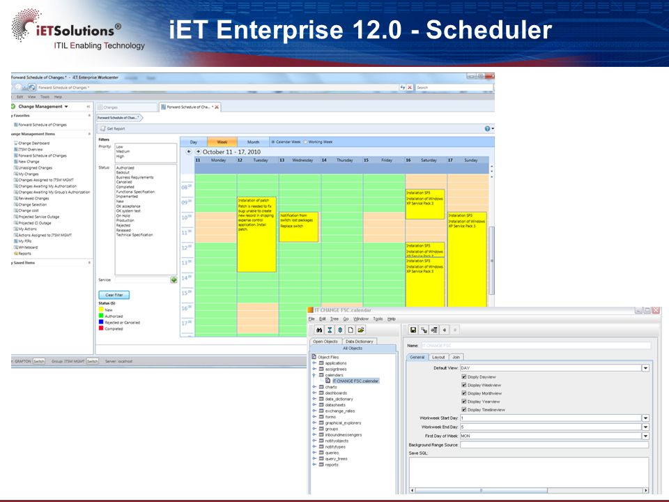 iET Enterprise 12.0 – Graphical WF  Graphical Workflow Editor to ease configuration -Enhanced Graphical Explorer to allow process modeling -Workflow configuration based on Actions and Phases -System Actions to execute basic tasks such as notifications, escalations, scripting, …