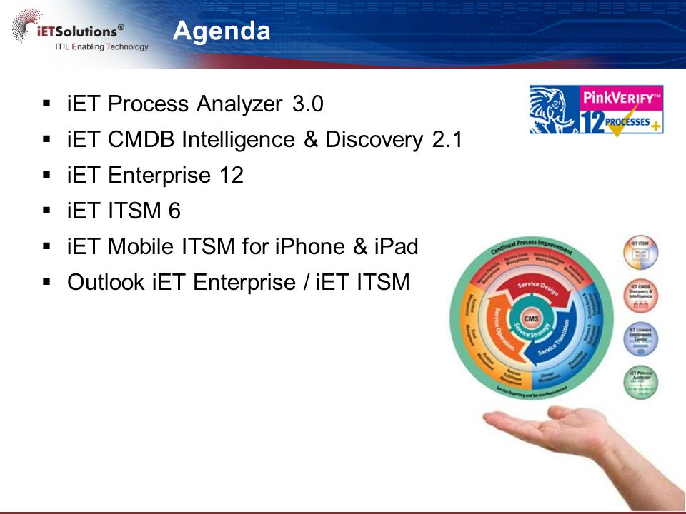 Agenda  iET Process Analyzer 3.0  iET CMDB Intelligence & Discovery 2.1  iET Enterprise 12  iET ITSM 6  iET Mobile ITSM for iPhone & iPad  Outlook iET Enterprise / iET ITSM