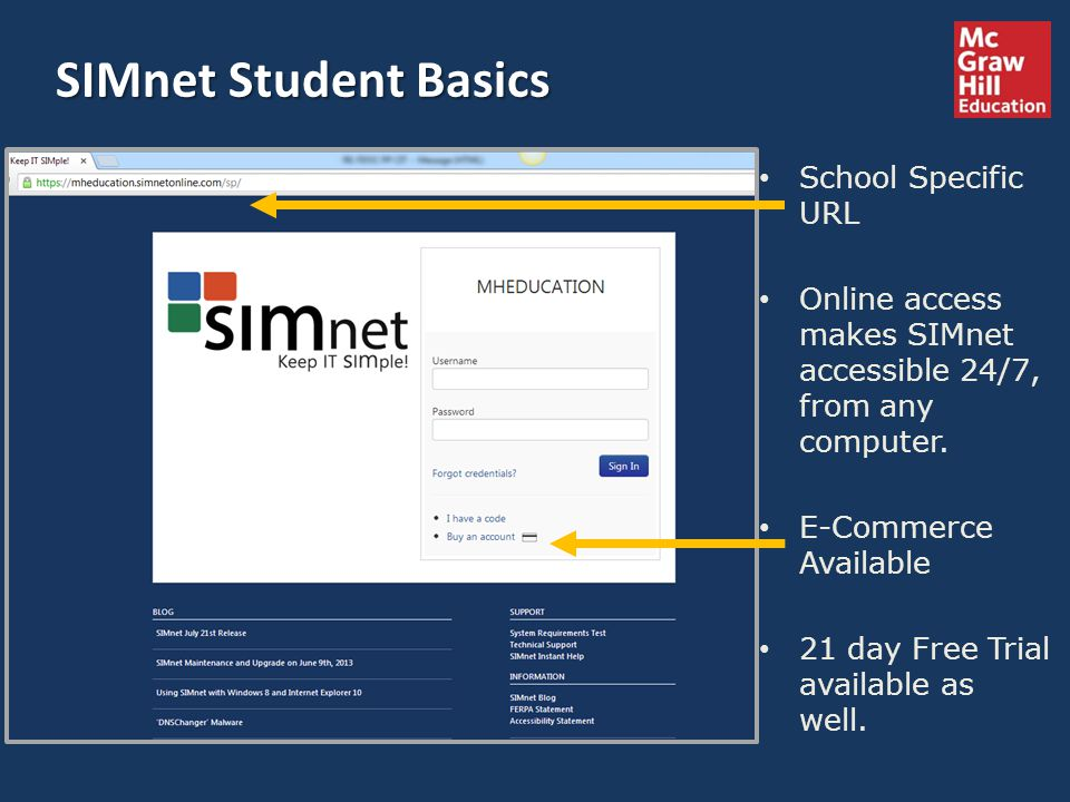 School Specific URL Online access makes SIMnet accessible 24/7, from any computer. E-Commerce Available 21 day Free Trial available as well. SIMnet St