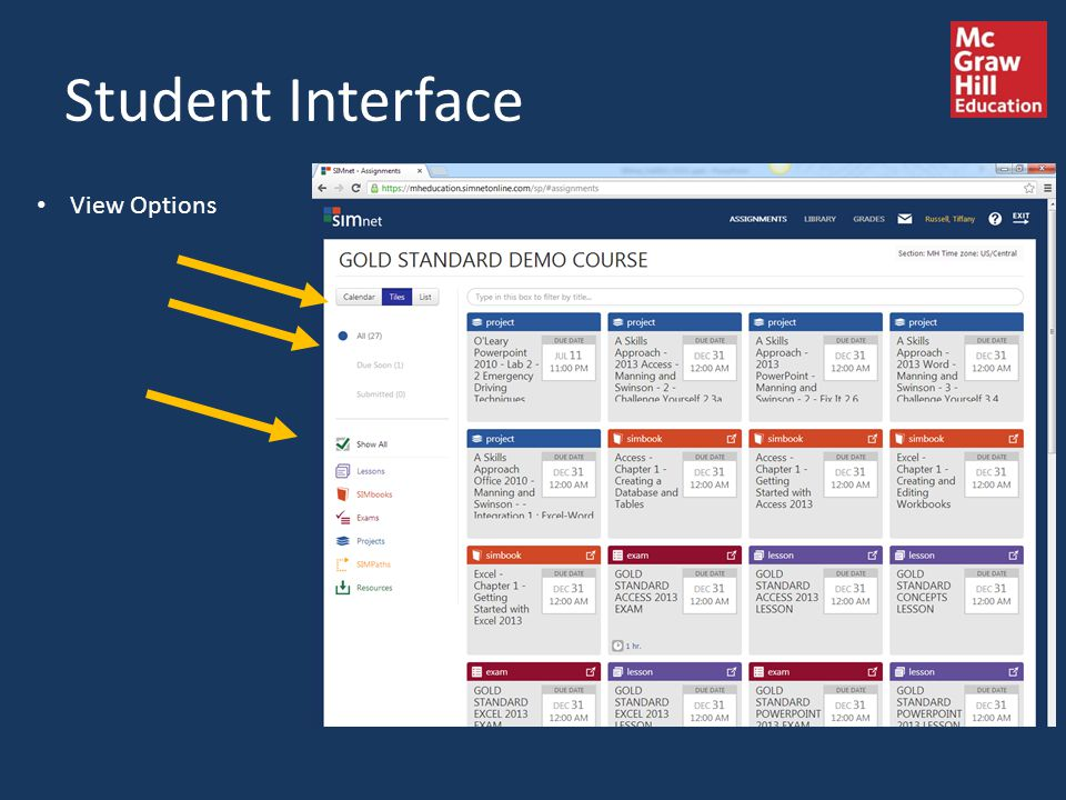 Student Interface View Options