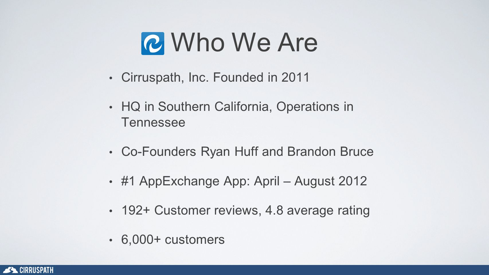 Who We Are Cirruspath, Inc. Founded in 2011 HQ in Southern California, Operations in Tennessee Co-Founders Ryan Huff and Brandon Bruce #1 AppExchange