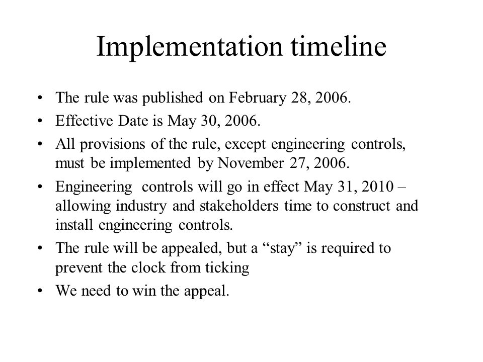 Implementation timeline The rule was published on February 28, 2006.