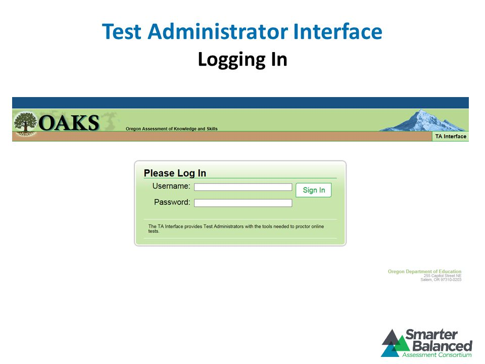 Test Administrator Interface Logging In