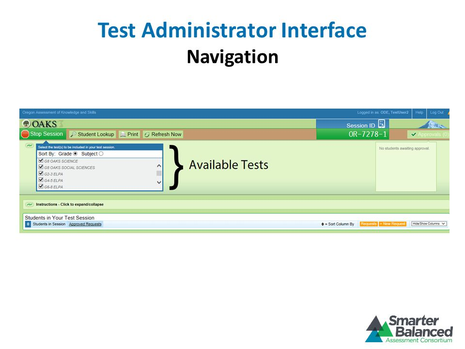 Test Administrator Interface Navigation