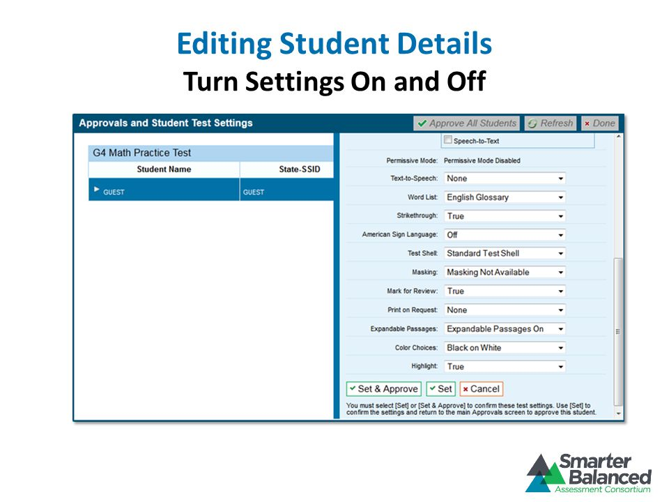Editing Student Details Turn Settings On and Off