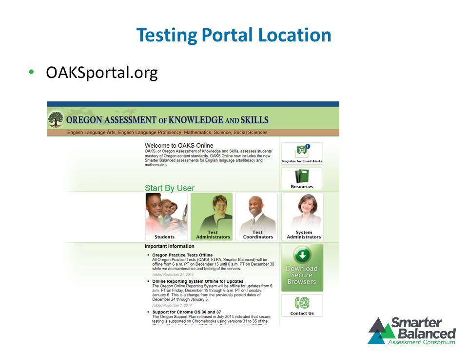 Testing Portal Location OAKSportal.org