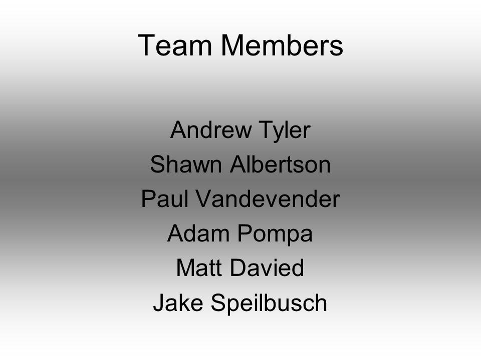 Team Members Andrew Tyler Shawn Albertson Paul Vandevender Adam Pompa Matt Davied Jake Speilbusch