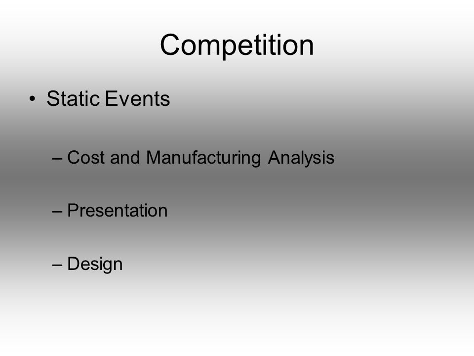 Competition Static Events –Cost and Manufacturing Analysis –Presentation –Design