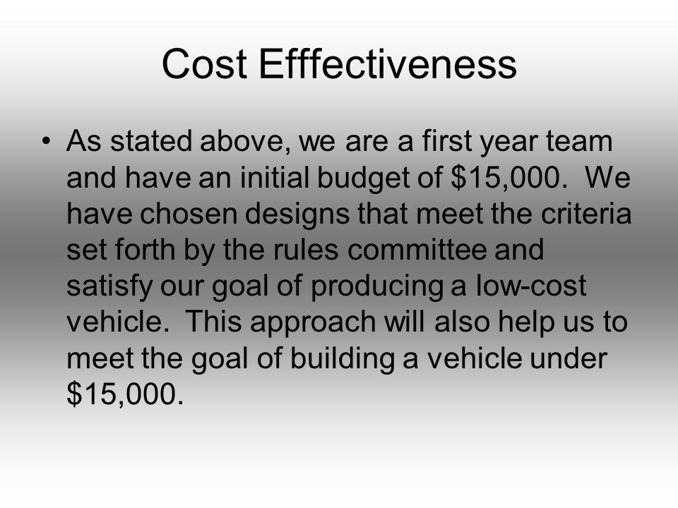 Cost Efffectiveness As stated above, we are a first year team and have an initial budget of $15,000.