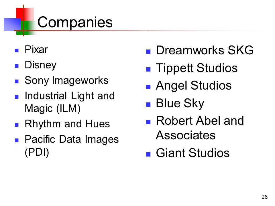 26 Companies Pixar Disney Sony Imageworks Industrial Light and Magic (ILM) Rhythm and Hues Pacific Data Images (PDI) Dreamworks SKG Tippett Studios Angel Studios Blue Sky Robert Abel and Associates Giant Studios
