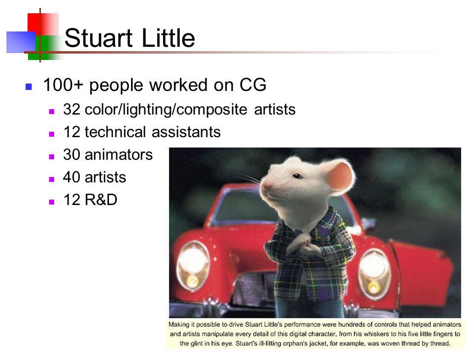36 Stuart Little 100+ people worked on CG 32 color/lighting/composite artists 12 technical assistants 30 animators 40 artists 12 R&D