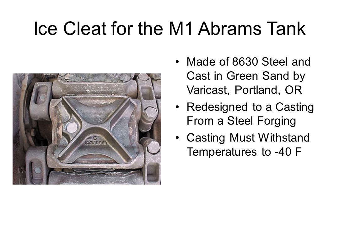 Ice Cleat for the M1 Abrams Tank Made of 8630 Steel and Cast in Green Sand by Varicast, Portland, OR Redesigned to a Casting From a Steel Forging Casting Must Withstand Temperatures to -40 F