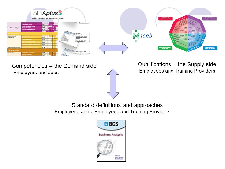 Competencies – the Demand side Employers and Jobs Qualifications – the Supply side Employees and Training Providers Standard definitions and approaches Employers, Jobs, Employees and Training Providers