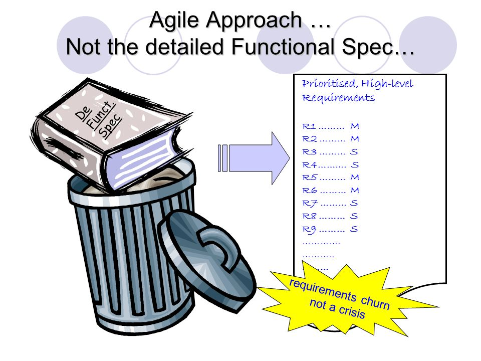 Agile Approach … Not the detailed Functional Spec… Prioritised, High-level Requirements R1 ………M R2 ………M R3 ………S R4……….