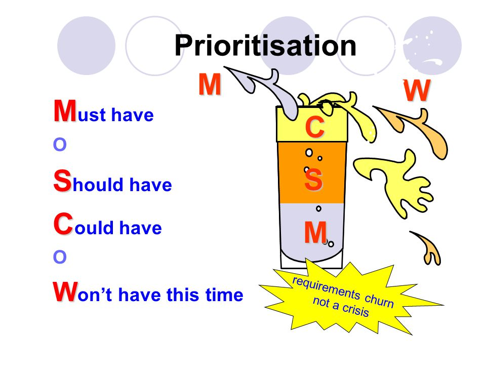 Prioritisation M M ust have O S S hould have C C ould have O W W on't have this time M S C WM requirements churn not a crisis