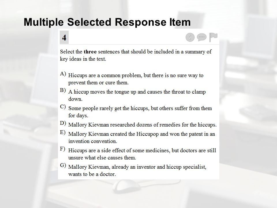 Multiple Selected Response Item