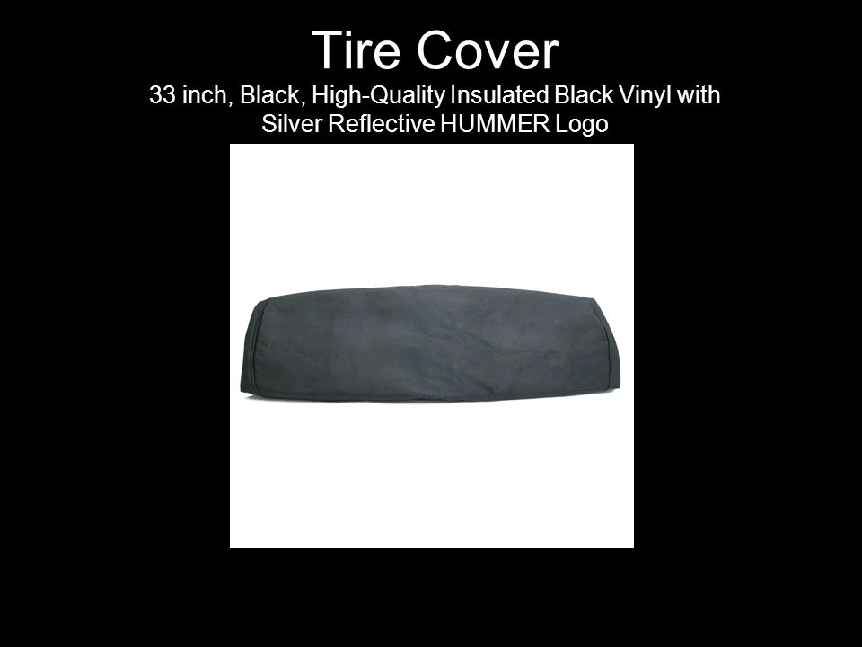 Tire Cover 33 inch, Black, High-Quality Insulated Black Vinyl with Silver Reflective HUMMER Logo