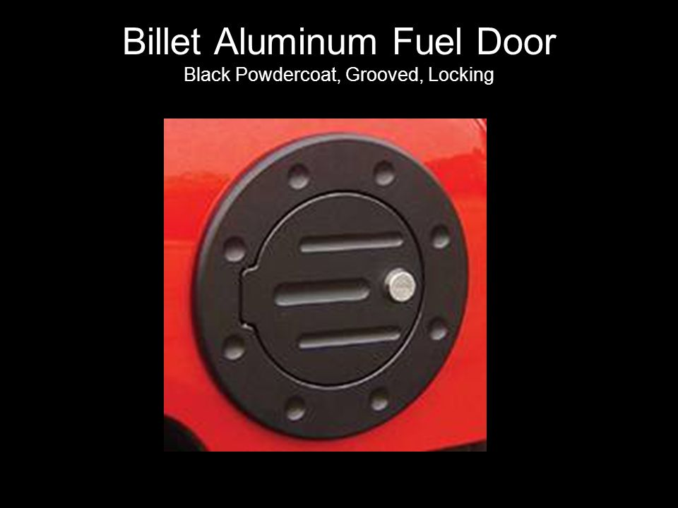 Billet Aluminum Fuel Door Black Powdercoat, Grooved, Locking