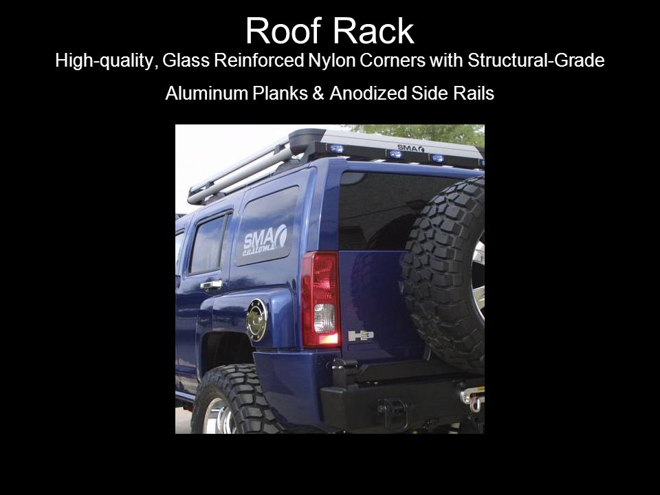 Roof Rack High-quality, Glass Reinforced Nylon Corners with Structural-Grade Aluminum Planks & Anodized Side Rails