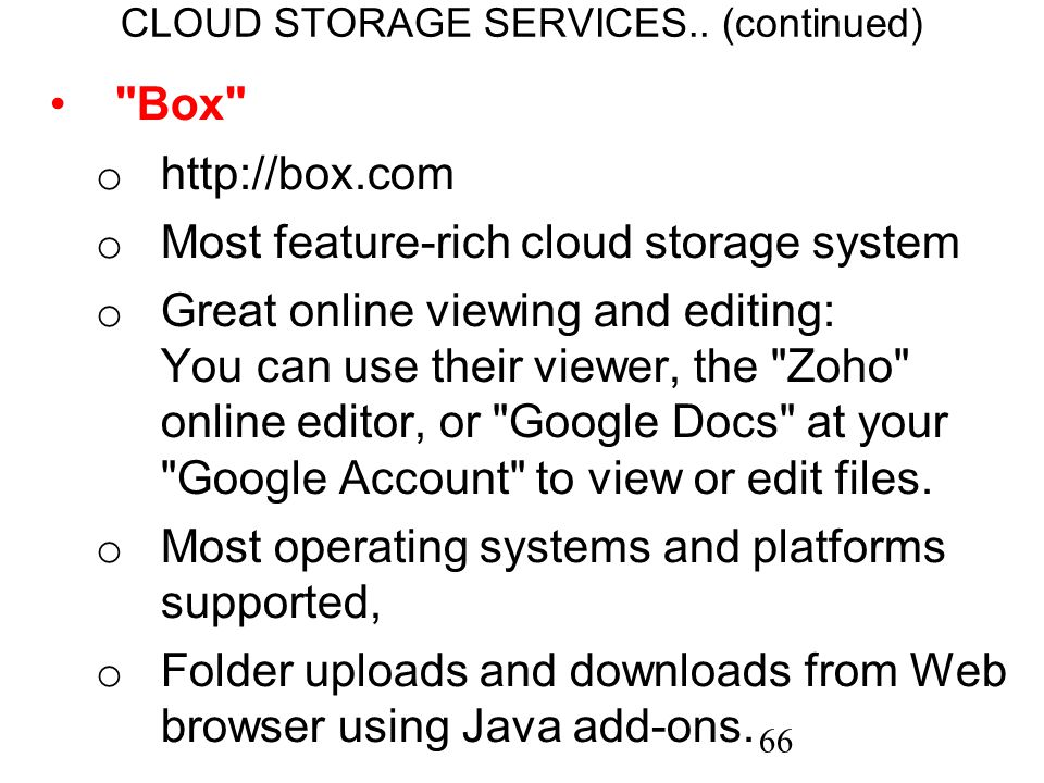 66 CLOUD STORAGE SERVICES..