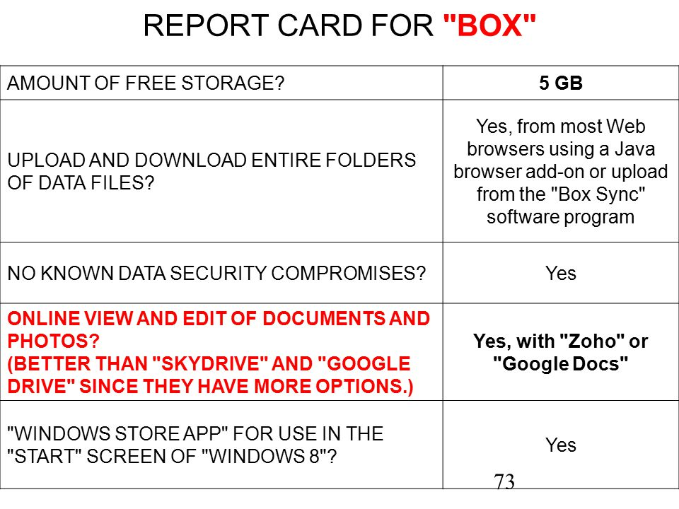 73 REPORT CARD FOR BOX AMOUNT OF FREE STORAGE?5 GB UPLOAD AND DOWNLOAD ENTIRE FOLDERS OF DATA FILES.