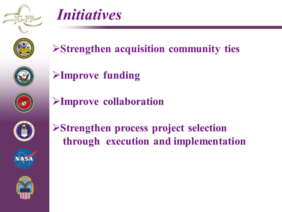 4/29/2015 Initiatives  Strengthen acquisition community ties  Improve funding  Improve collaboration  Strengthen process project selection through execution and implementation