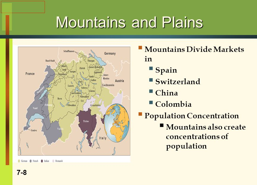 Mountains and Plains  Mountains Divide Markets in  Spain  Switzerland  China  Colombia  Population Concentration  Mountains also create concentrations of population 7-8 Insert Fig 7-2 Swiss Map