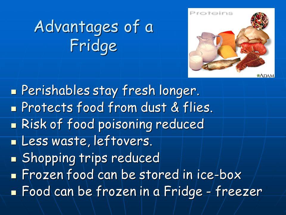 Advantages of a Fridge Perishables stay fresh longer. Perishables stay fresh longer. Protects food from dust & flies. Protects food from dust & flies.