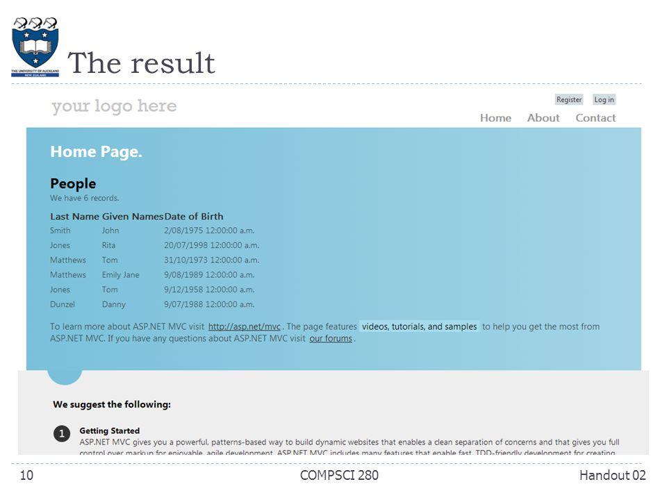 The result Handout 02COMPSCI 28010