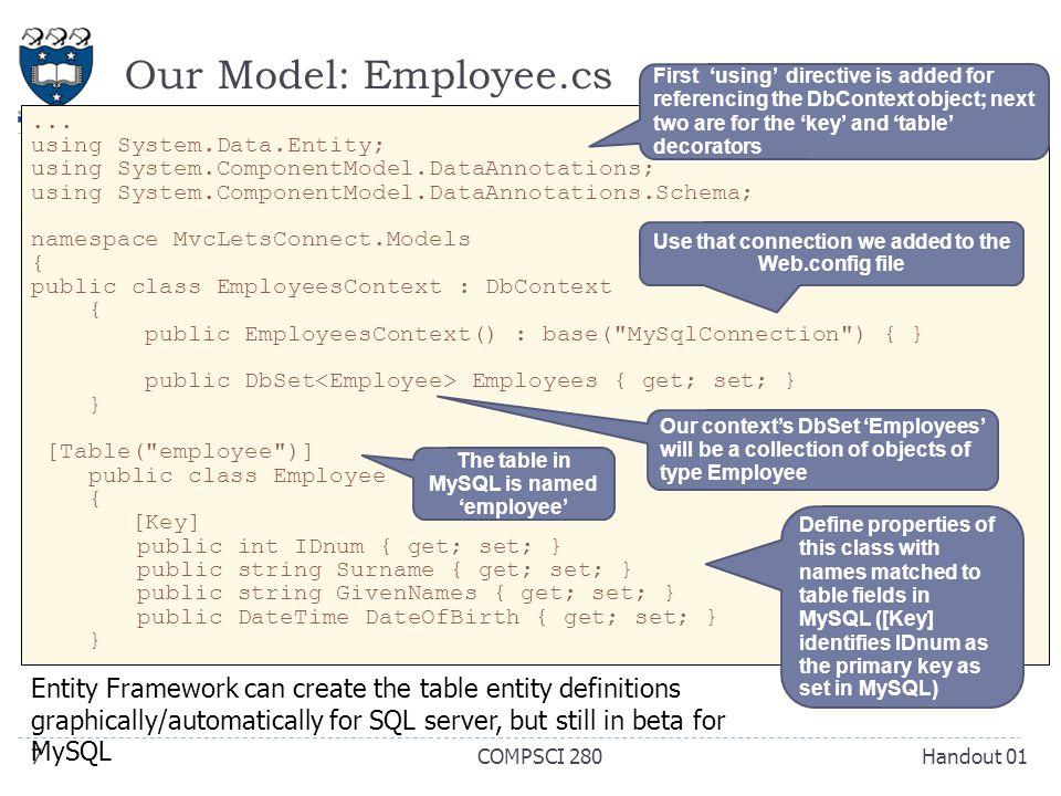 Our Model: Employee.cs Handout 01COMPSCI 2807...