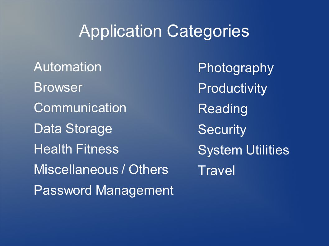 Application Categories Automation Browser Communication Data Storage Health Fitness Miscellaneous / Others Password Management Photography Productivity Reading Security System Utilities Travel