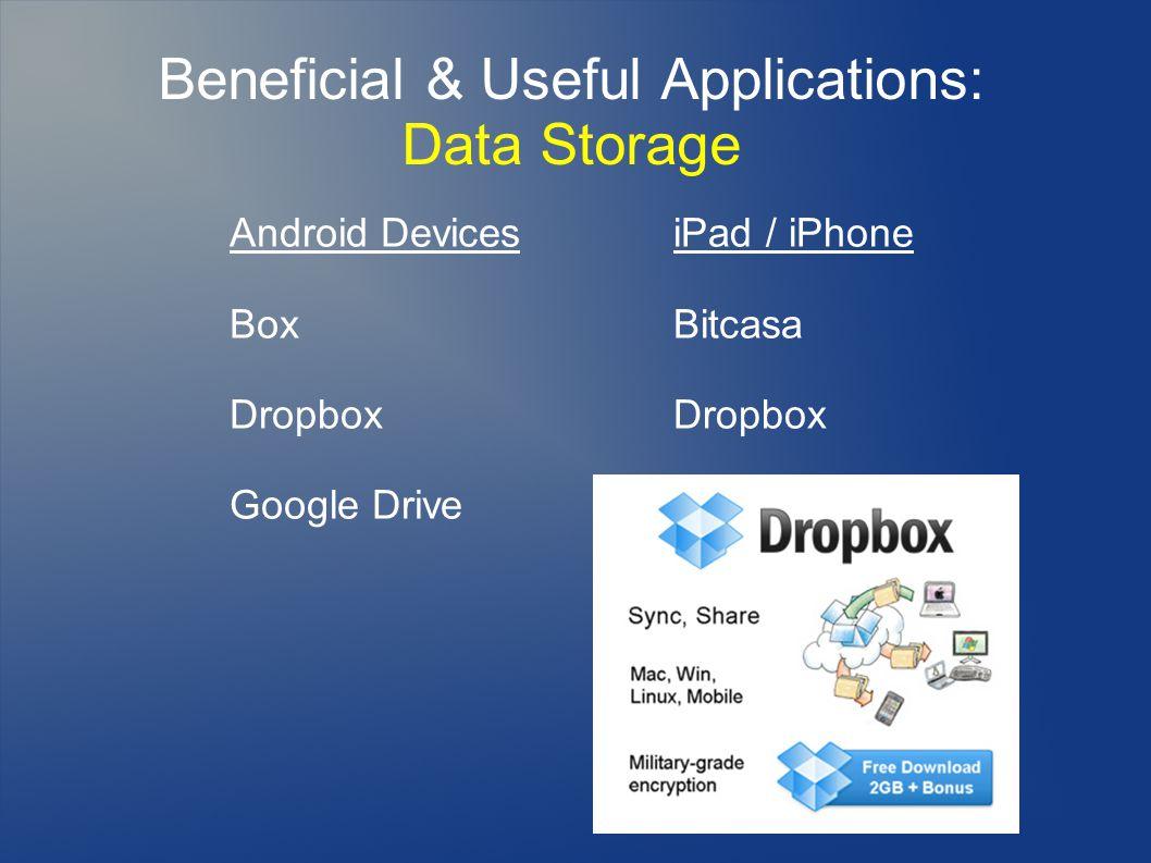 Beneficial & Useful Applications: Data Storage Android Devices Box Dropbox Google Drive iPad / iPhone Bitcasa Dropbox