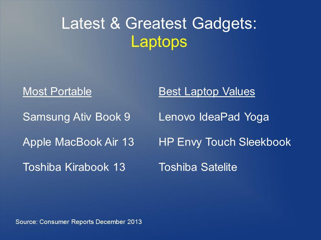 Latest & Greatest Gadgets: Laptops Most Portable Samsung Ativ Book 9 Apple MacBook Air 13 Toshiba Kirabook 13 Source: Consumer Reports December 2013 Best Laptop Values Lenovo IdeaPad Yoga HP Envy Touch Sleekbook Toshiba Satelite
