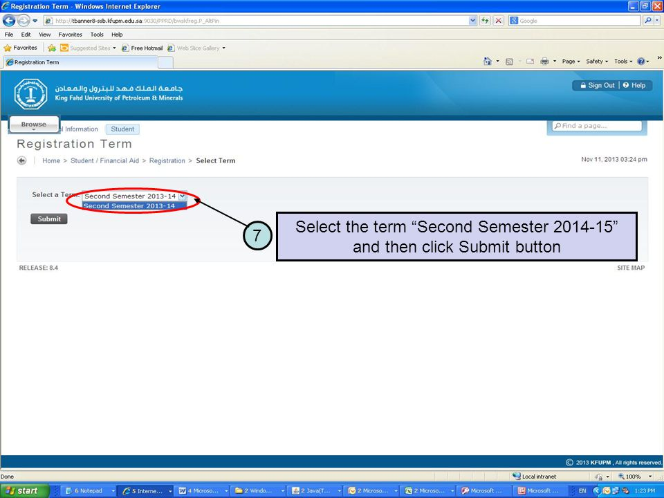 7 Select the term Second Semester 2014-15 and then click Submit button