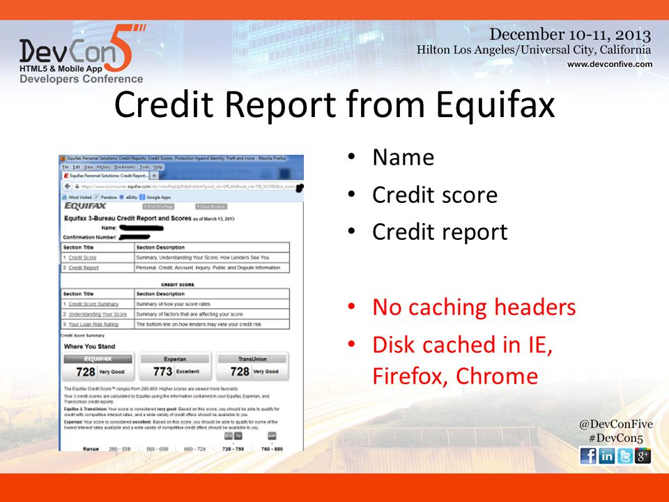 Credit Report from Equifax Name Credit score Credit report No caching headers Disk cached in IE, Firefox, Chrome
