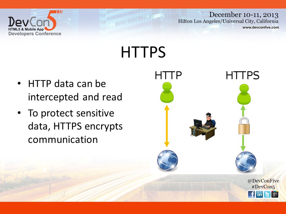HTTPS HTTP data can be intercepted and read To protect sensitive data, HTTPS encrypts communication