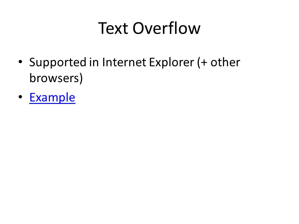Text Overflow Supported in Internet Explorer (+ other browsers) Example
