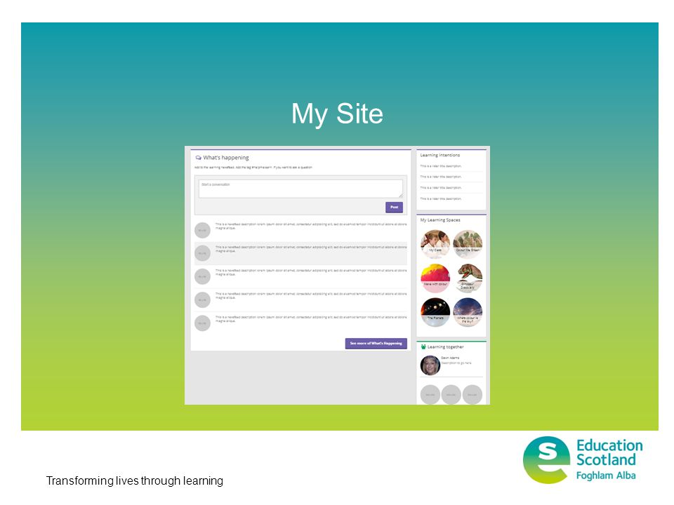 Transforming lives through learning SkyDrive = Learning repository