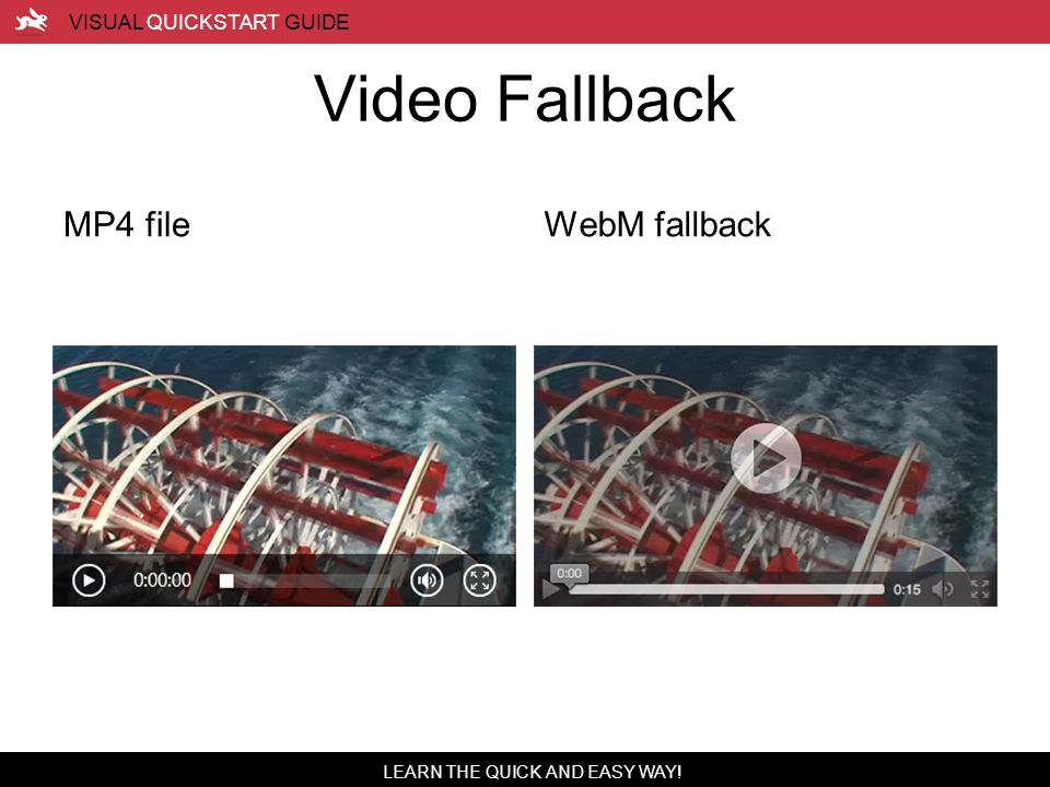 LEARN THE QUICK AND EASY WAY! VISUAL QUICKSTART GUIDE Video Fallback MP4 fileWebM fallback
