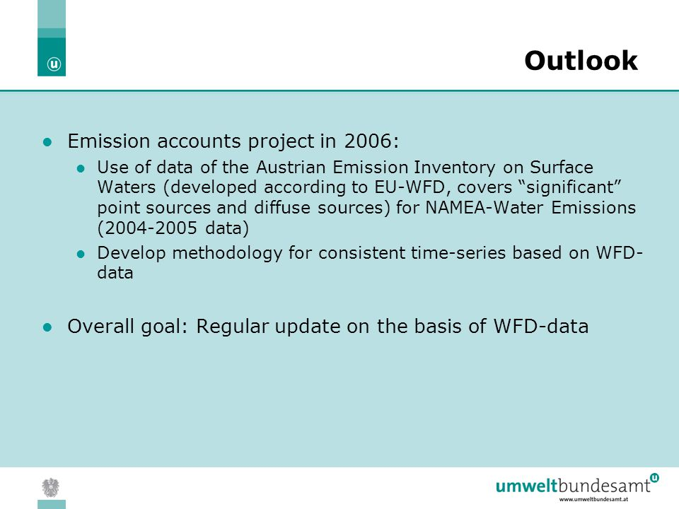 05.04.2004 | Slide 18 Outlook Emission accounts project in 2006: Use of data of the Austrian Emission Inventory on Surface Waters (developed according