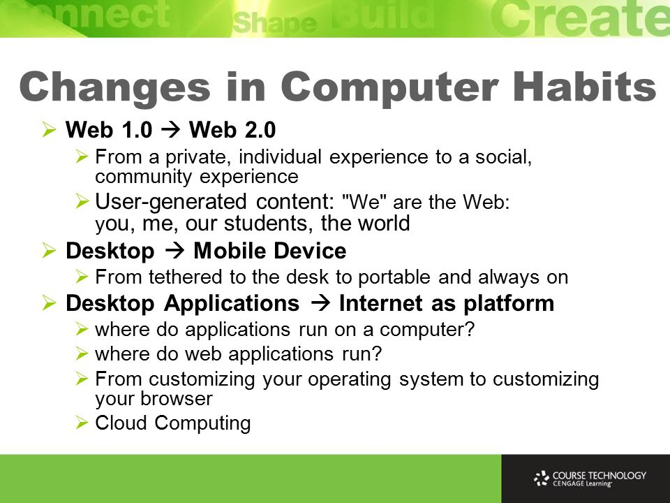 Changes in Computer Habits  Web 1.0  Web 2.0  From a private, individual experience to a social, community experience  User-generated content: We are the Web: y ou, me, our students, the world  Desktop  Mobile Device  From tethered to the desk to portable and always on  Desktop Applications  Internet as platform  where do applications run on a computer.