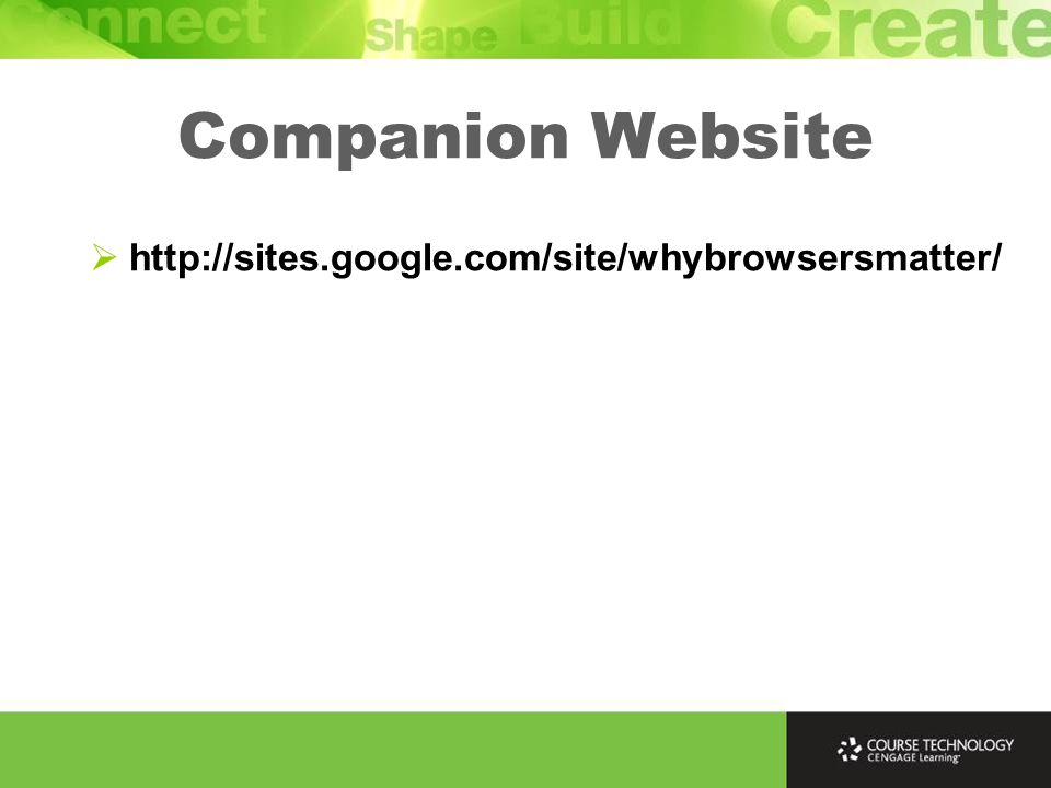 Companion Website  http://sites.google.com/site/whybrowsersmatter/