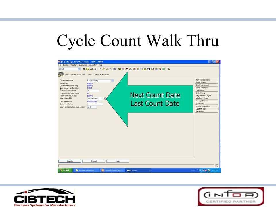 Cycle Count Walk Thru Next Count Date Last Count Date