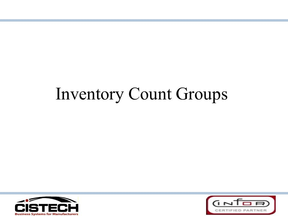 Inventory Count Groups