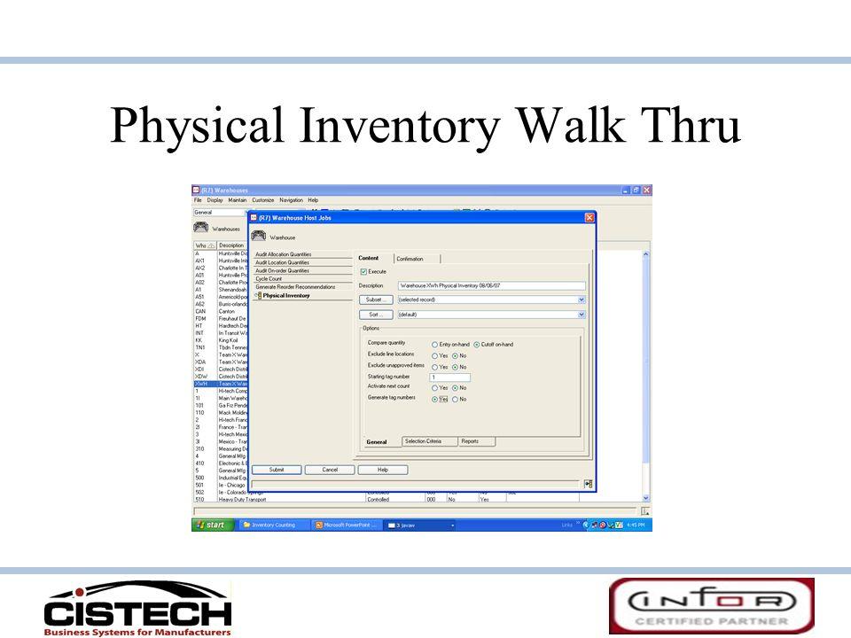 Physical Inventory Walk Thru