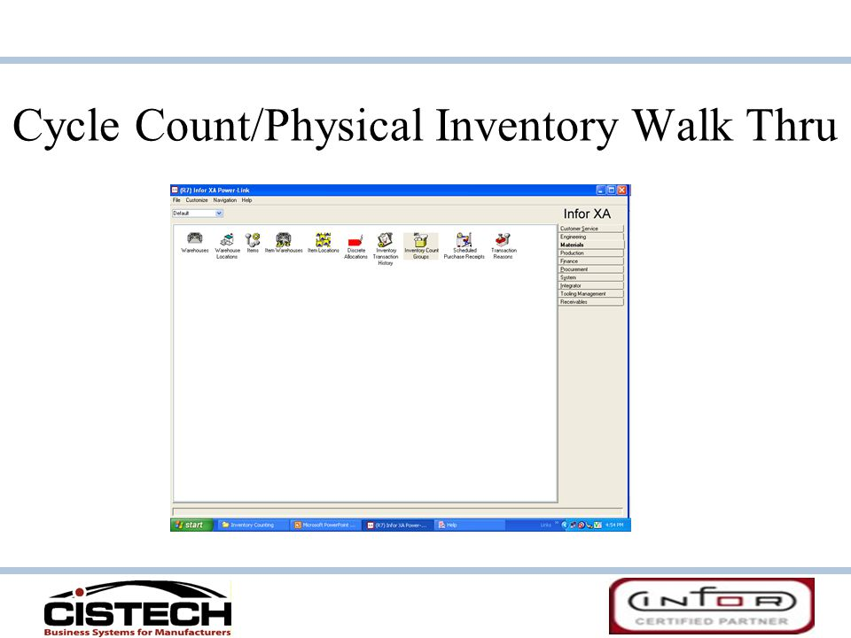Cycle Count/Physical Inventory Walk Thru