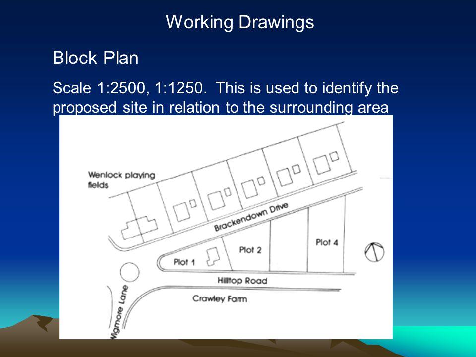 Working Drawings Block Plan Scale 1:2500, 1:1250.
