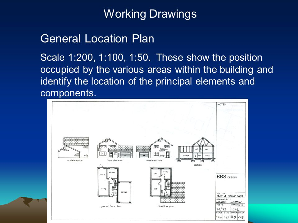 Working Drawings General Location Plan Scale 1:200, 1:100, 1:50.