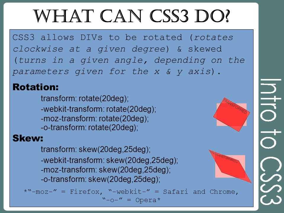 What can CSS3 do? CSS3 allows DIVs to be rotated (rotates clockwise at a given degree) & skewed (turns in a given angle, depending on the parameters g